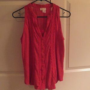 Anthropologie sleeveless coral shirt